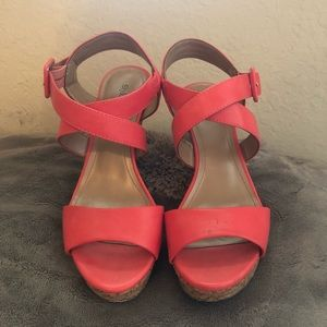 Neon Pink Cork Wedge Sandals